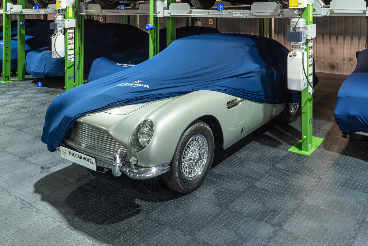 Aston Martin DB5 covered for storage