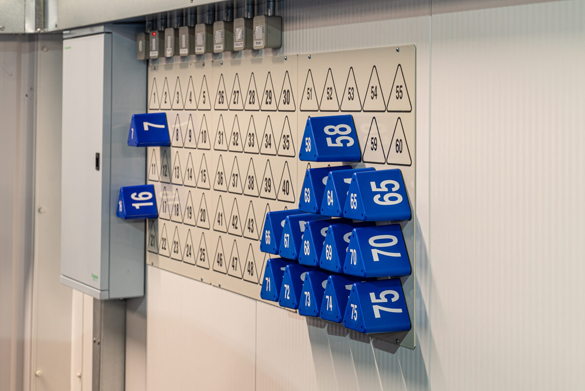 Storage bay markers at The Car Hotel